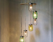 Lemon Lime Mason Jar Chandelier - Upcycled Hanging Lighting Fixture - Spiral Waterfall Rustic Wedding Pendant Lamp - BootsNGus Home Decor