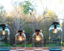 Mason Jar Banner Lighting Fixture -  Upcycled Mason Jar Lamp Featuring 2 Clear Pints and 2 Quarts & 2 Antique Blue Half Gallons by BootsNGus