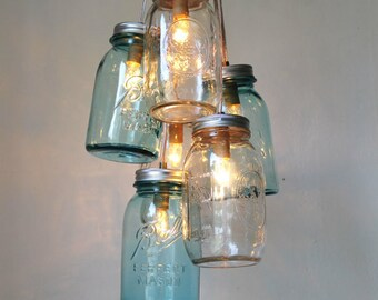 Ocean Sapphire Mason Jar Chandelier - Mason Jar Light - Modern Industrial Handcrafted UpCycled BootsNGus Hanging Pendant Lighting Fixture