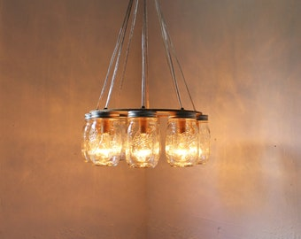 WAGON WHEEL Mason Jar Chandelier - Upcycled Handcrafted Modern Country Hanging Pendant Light Fixture - BootsNGus Rustic Home & Wedding Decor