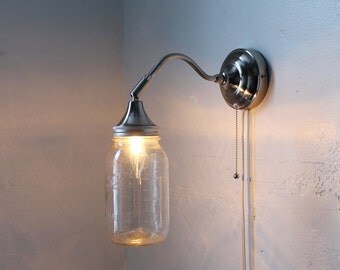 Mason Jar Sconce Lamp, Industrial Stainless Steel Gooseneck Wall Sconce With A Clear Quart Mason Jar Shade - BootsNGus Lighting & Home Decor