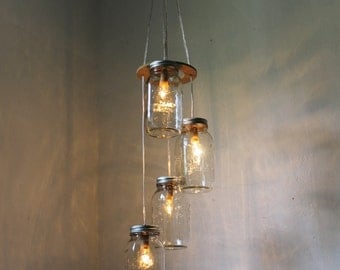 Mason Jar Chandelier Hanging Mason Jar Pendant Lighting Fixture 4 Quart Jars Spiral & Spiral Mason Jar Chandelier Rustic Hanging Pendant Lighting azcodes.com