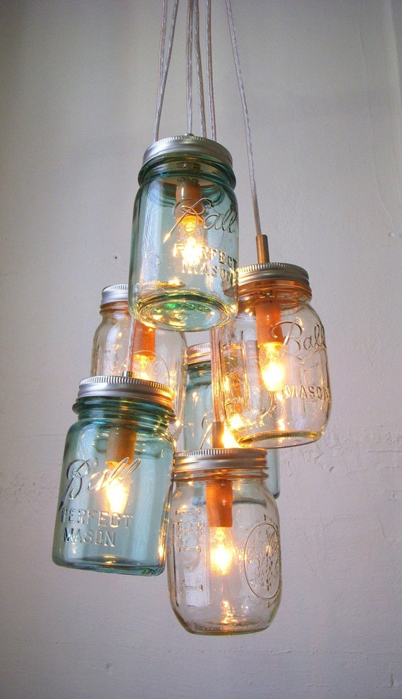 Sapphire Ocean Mason Jar Chandelier - Mason Jar Light - Modern Industrial Handcrafted UpCycled BootsNGus Hanging Pendant Lighting Fixture