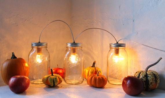 Mason Jar Lighting Fixture - Banner Style Mason Jar Lamp - Upcycled Rustic Mason Jar Accent Light From BootsNGus Modern Lamps And Home Decor