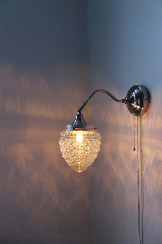 Sparkling Winters Ice  - Stainless Steel Gooseneck Wall Sconce - Oak Tree Acorn Textured Shade - UpCycled BootsNGus Lighting Fixture