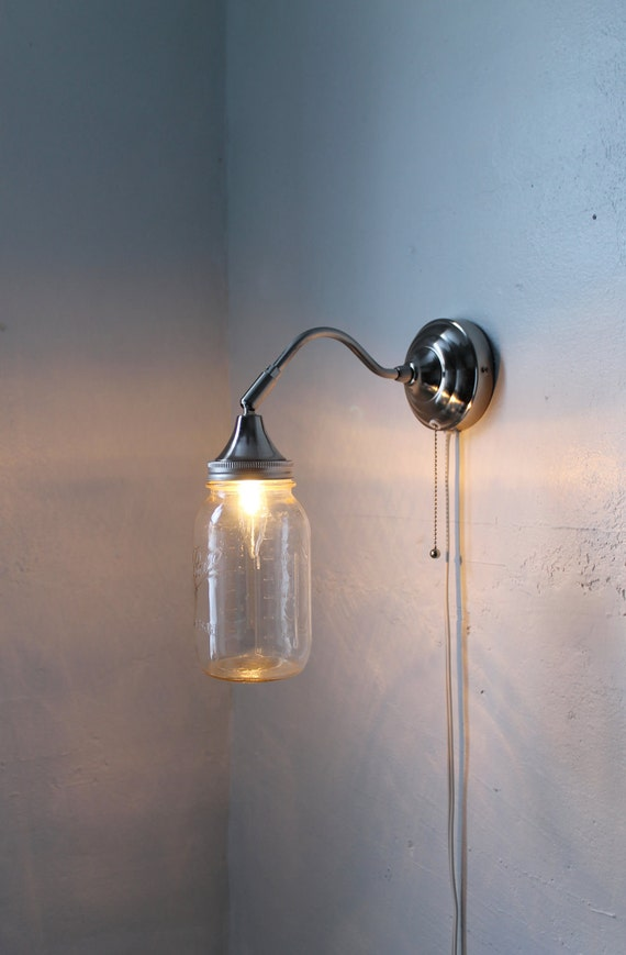 Mason jar sconce lamp industrial stainless steel gooseneck - Gooseneck wall sconce ...