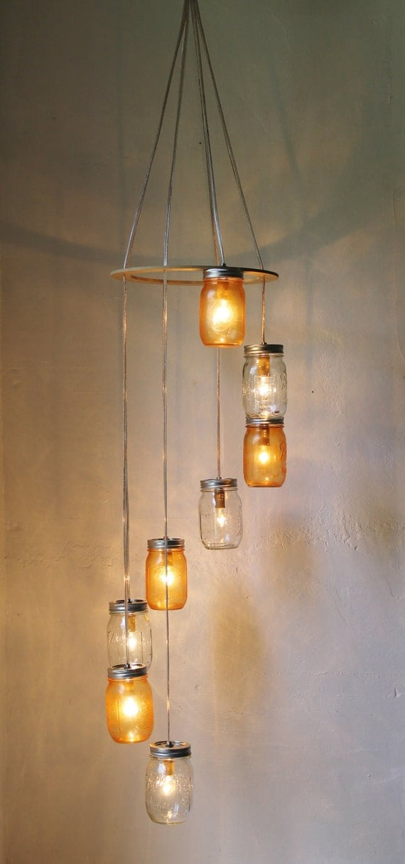 Tangerine Dream Waterfall Mason Jar Chandelier - Hanging Spiral Lighting Fixture - Upcycled Mason Jar Pendant Lamp - BootsNGus Chandeliers