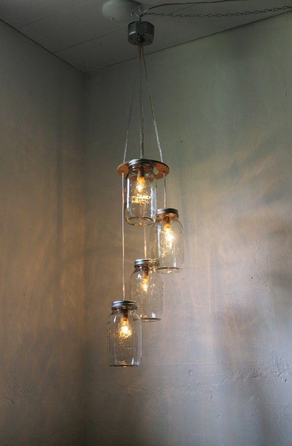 Hanging Lamps That Plug Into Wall : Fireflies Spiral Cascading Mason Jar Chandelier Swag by BootsNGus