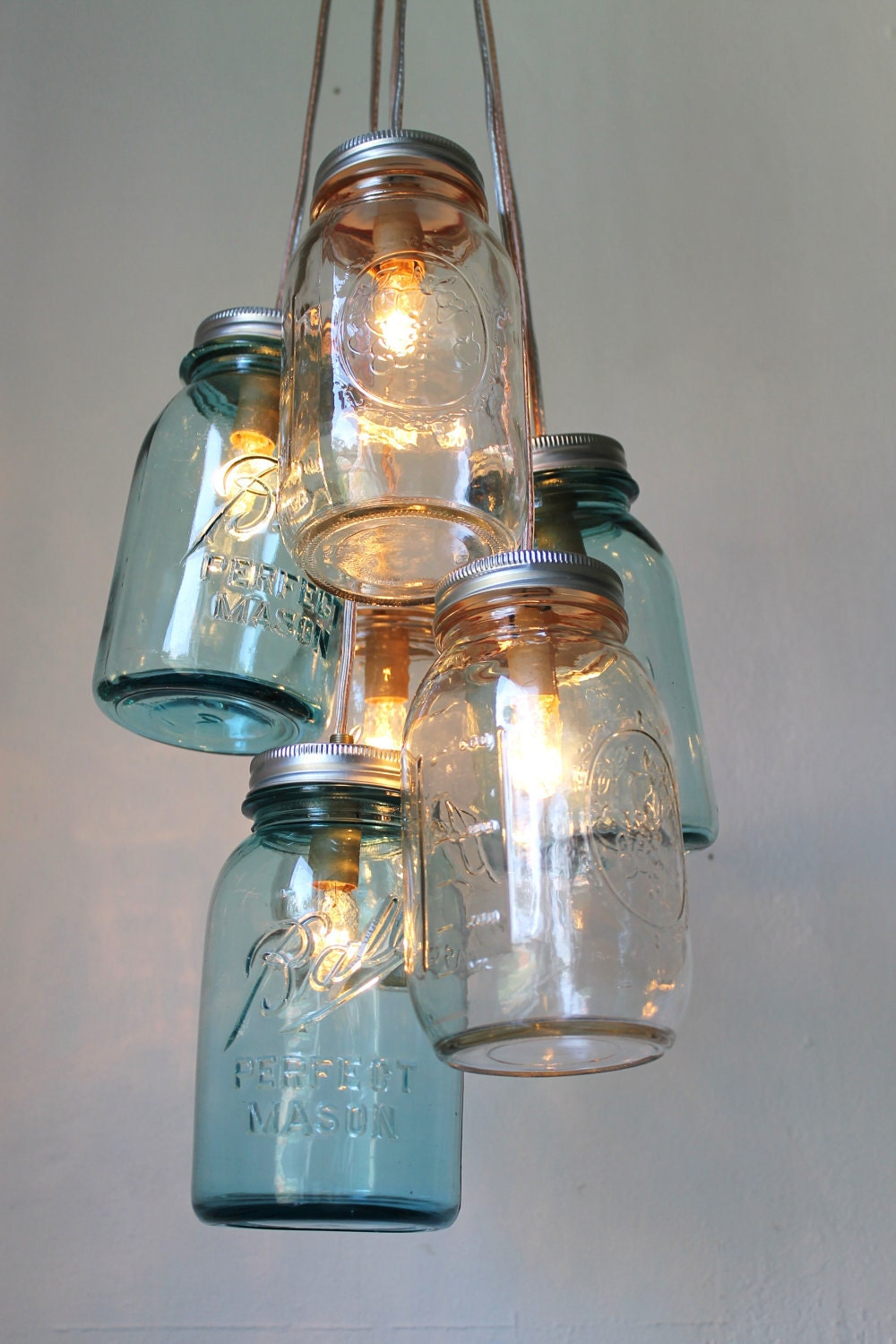 mason jar chandelier handcrafted rustic hanging lighting. Black Bedroom Furniture Sets. Home Design Ideas