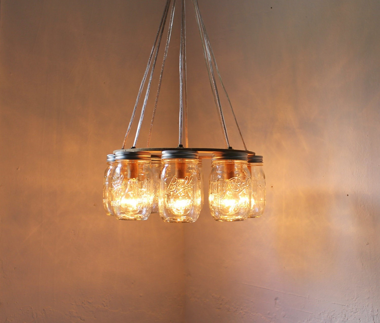 Mason Jar Chandelier: WAGON WHEEL Mason Jar Chandelier Upcycled Handcrafted Modern