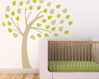 Tree Wall Decal, Nursery Tree Decal, Green, Kids Wall Decal. Windy Tree Children Wall Decal
