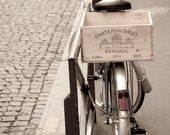 Paris Photography - Paris Bicycle on Parisian Street, with Wine Crate, France, Wall Decor Fine Art Travel Photograph