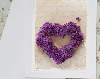 Valentine Card, Valentines Day, Heart Photography, Purple Lilac Blossom Heart Floral Greeting Card, Stationery
