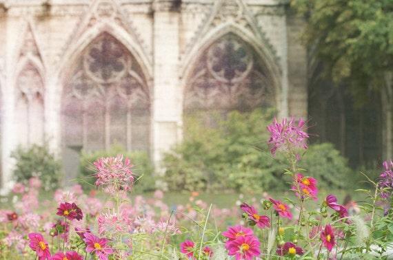 Paris Photo, Jardin du Notre Dame, Paris, France -  Colorful Summer Flower Garden, Architectural French Fine Art Travel Photograph