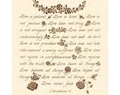 1 CORINTHIANS 13 LOVE IS Hand Written Calligraphy 8x10 Art Print Vintage Verses Christian Home Decor Natural Parchment Personalize Joy Books