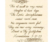 LAMENTATIONS 3:21-23 --- 8 X 10 Hand Written Calligraphy Art Print On Natural Parchment in Sepia Brown Ink
