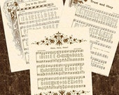 SALE --- 3 For 15 DOLLARS --- Any 8 X 10 Antique Hymn Art Prints On Natural Parchment In Sepia Brown Tan Ink Sheet Music Christian