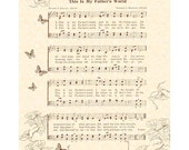 THIS Is My FATHER'S World - Hymn Art - Custom Christian Home Decor VintageVerses Sheet Music Inspirational Wall Art Natural Parchment Sepia