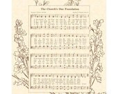 The CHURCH'S ONE FOUNDATION 8x10 Antique Hymn Art Print Vintage Verses Sheet Music Natural Parchment Sepia Brown One Lord 1 Faith 1 Birth