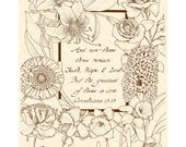 1 CORINTHIANS 13:13 --- 8 X 10 Hand Written Calligraphy Art Print on Natural Parchment in Sepia Brown Ink