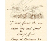 SONG OF SOLOMON 3:4 --- 8 X 10 Hand Written Calligraphy Art Print Sepia Brown Natural Parchment Alternate Colors Available