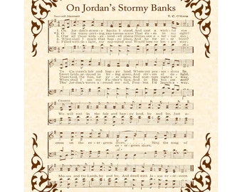 ON JORDAN'S Stormy Banks --- 8 x 10 Antique Hymn Art Print on Parchment