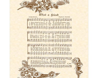 WHAT A FRIEND - Irish Hymn Writer - Christian Home Or Office Decor - Vintage Verses - Sheet Music- Inspirational Wall Art- Antique Hymn Art