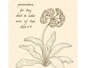 MATTHEW 5:9 - Beatitudes Number 7 in a Series of Nine 8x10 Calligraphy Art Prints VintageVerses Christian Wall Art Natural Parchment Sepia