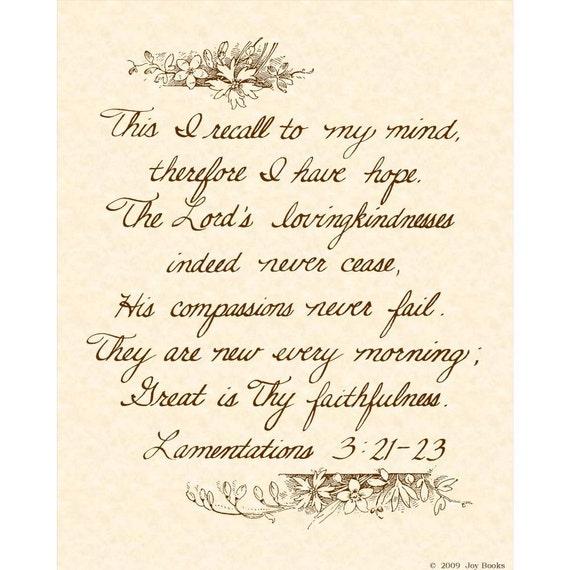 Lamentations 3 21 23 8 X 10 Hand Written Calligraphy Art