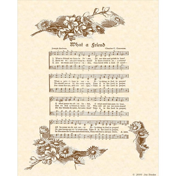 WHAT A FRIEND - Irish Hymn Writer - Custom Christian Home Decor - VintageVerses - Sheet Music- Inspirational Wall Art- Antique Hymn Wall Art