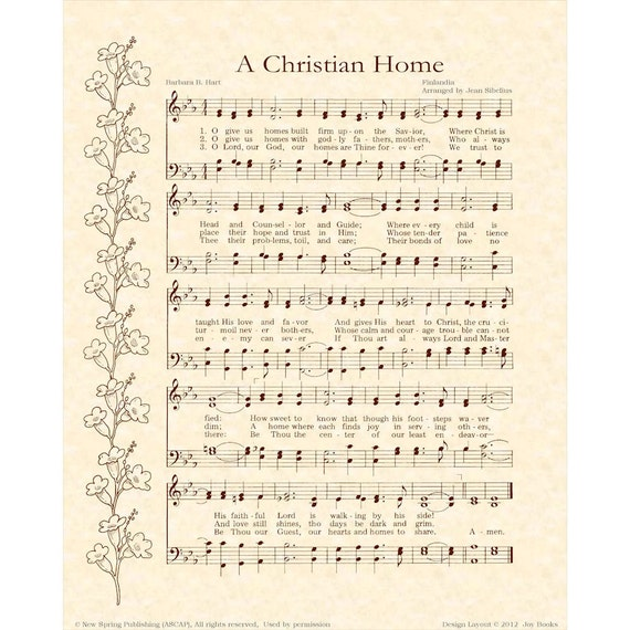 A CHRISTIAN HOME --- 8 x 10 Antique Hymn Art Print on Parchment