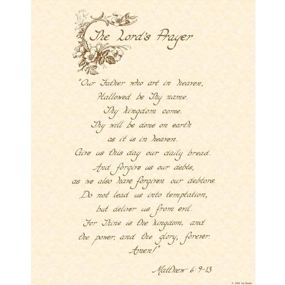 THE LORD'S Prayer, Matthew 6:9-13 - Custom Christian Home Decor - Vintage Verses 11x14 Scripture Wall Art - Natural Parchment - Sepia- Roses