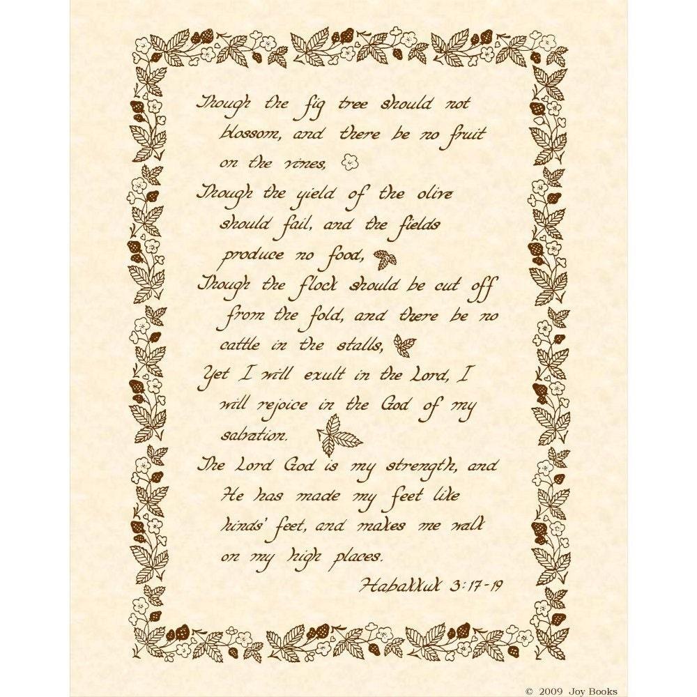 Habakkuk 3 17 19 8 X 10 Hand Written Calligraphy Art Print