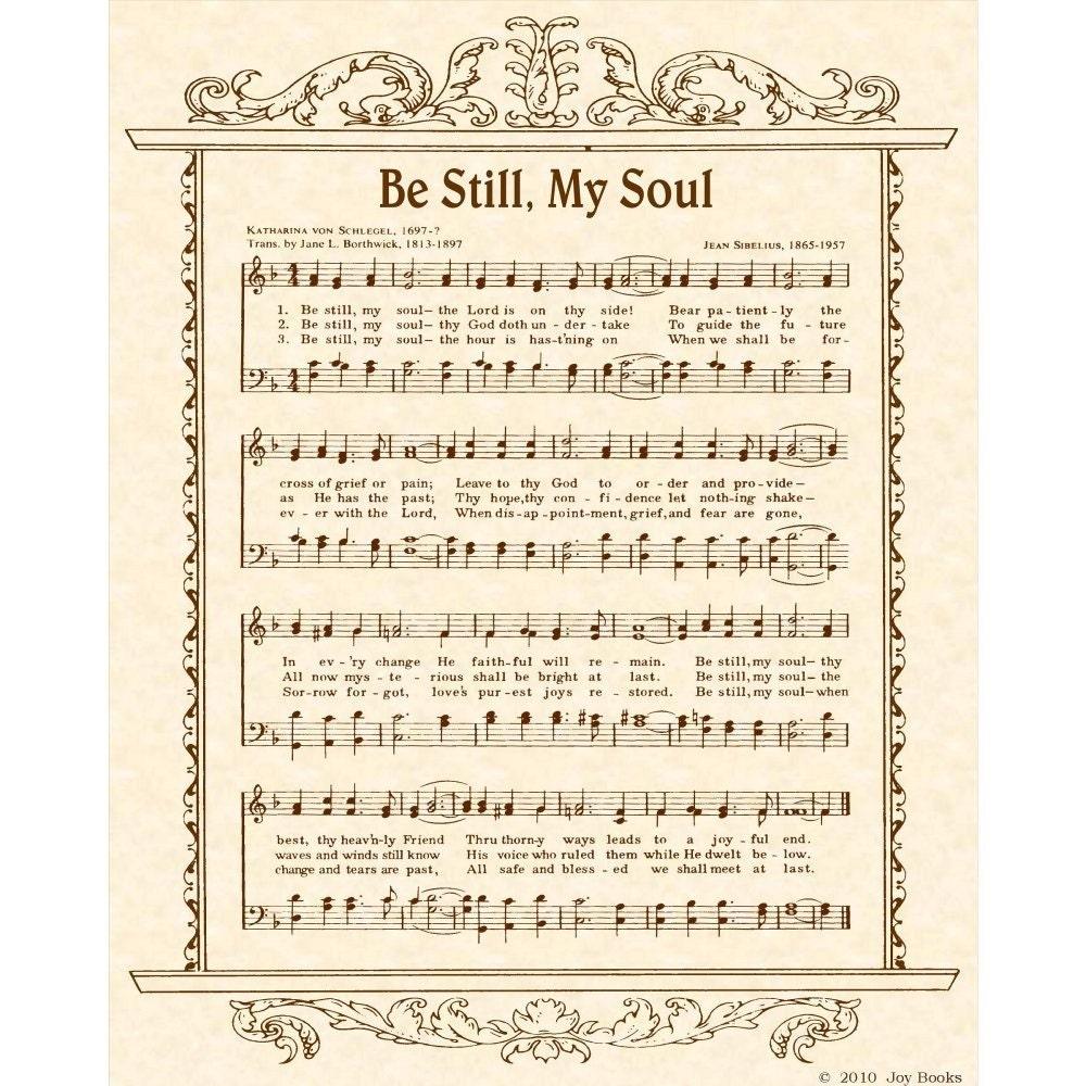 Be Still My Soul 8 X 10 Antique Hymn Art Print By