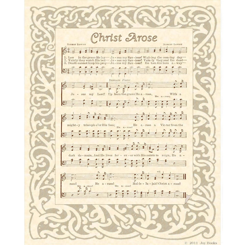 Christ Arose 8 X 10 Antique Hymn Art Print On Parchment