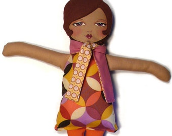 Handmade Cloth Doll by Whimsybean in Berry Mod Print-Evangelina