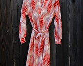 Vintage Dress with Long Sleeves, Red and White Stripe Pattern, Tie Belt