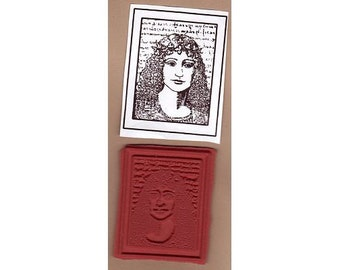 Just Reduced!  Exotic Woman 6 - Celtic-Style Lady w/ Writing in Frame - New Large UM Rubber Stamp - Collage - Cards - ATCs - FREE Shipping