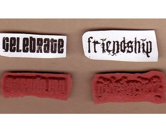Celebrate - Friendship - Fabulous Distressed Words - Lot of 2 New UM Rubber Stamps - Collage - ATCs - Domino Art - FREE Shipping
