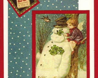 Vintage Angel with Snowman & 4-Leaf Clovers - Lovely Handmade Christmas Card - FREE Shipping