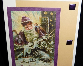 Vintage Style Santa with Square Jewel Brads - Great Handmade Christmas Card - FREE Shipping