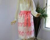 RESERVED FOR VINTAGELOVERE  Vintage 80s Party Dress Richilene Sheer Pink Cut work Lace Cocktail Formal Dress