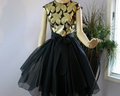 Vintage 50s Suzy Perette Dress Black Gold w Organza Full Skirt Formal Cocktail Party Dress