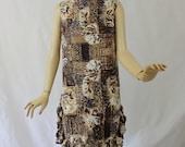 Vintage 60s Hawaiian Dress Tropical Cotton Black Brown Print Shift style w Ruffle