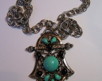 Vintage 60s Necklace Large Faux Turquoise and Black Stone Pendant w Silvertone Chain Necklace