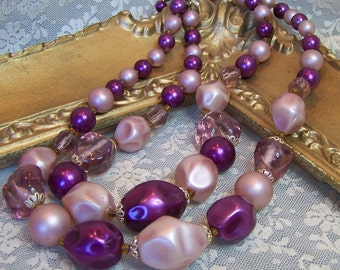 Vintage 50s Necklace Shades of Purple Choker Necklace Double Strand Glass Plastic beads