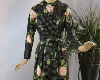 Vintage 60s Maxi Dress Serbin of Florida Black White Polka Dot Maxi Dress w Large Pink Roses Hostess Patio Party Evening Dinner