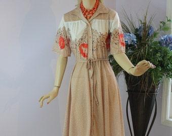 Vintage 60s Day Dress Sheer Tan Polka Dot Floral Print Secretary Day Dress w Red Poppies