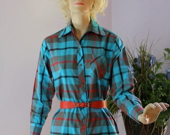 Vintage 60s Dress Turquoise Red Plaid Cotton Shirt Day Dress