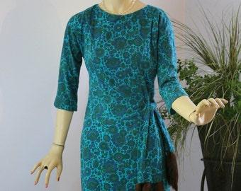 Vintage 50s Dinner DressTurquoise Wool Print Sheath Dress w Mink Fur Tail Sash Belt